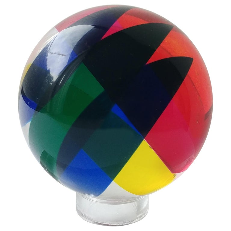 Vasa, Velizar Mihich Acrylic, Ball, Sphere Sculpture, Signed, Dated For Sale