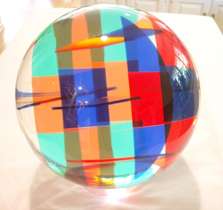 Great acrylic sphere by the well known artist Vasa. Comes with a clear base aprox 2 inches high, the sculpture /ball is 10 inches diameter. Signed and dated 1986 and archive # 2748.