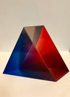 Signed and Dated 1978 Colorful Acrylic Vasa Laminated Lucite Triangle Sculpture