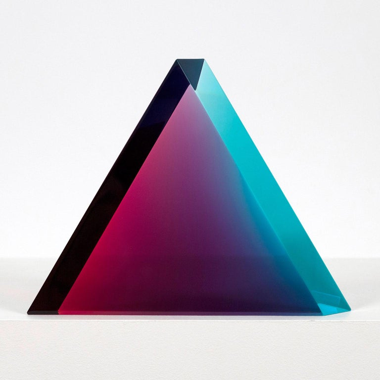 "Vasa Velizar Mihich Abstract Sculpture - Vasa Mihich ""Aqua Berry"" Triangle, 2019"