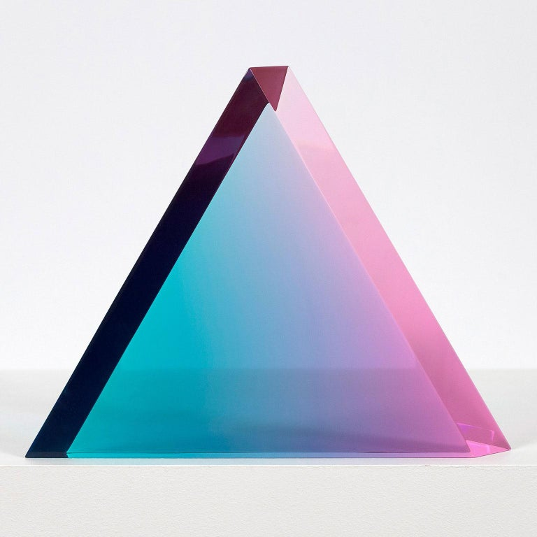 "Vasa Velizar Mihich Abstract Sculpture - Vasa Mihich ""Aqua Grape"" Triangle, 2019"