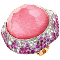 Vasari 18 Karat Rose Gold, 2.00 Carat Diamond, Ruby and Tourmaline Cocktail Ring