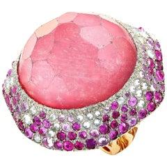 Vasari 18 Karat Rose Gold, 2.00 Carat Diamond, Ruby and Tourmaline Cocktail Ring