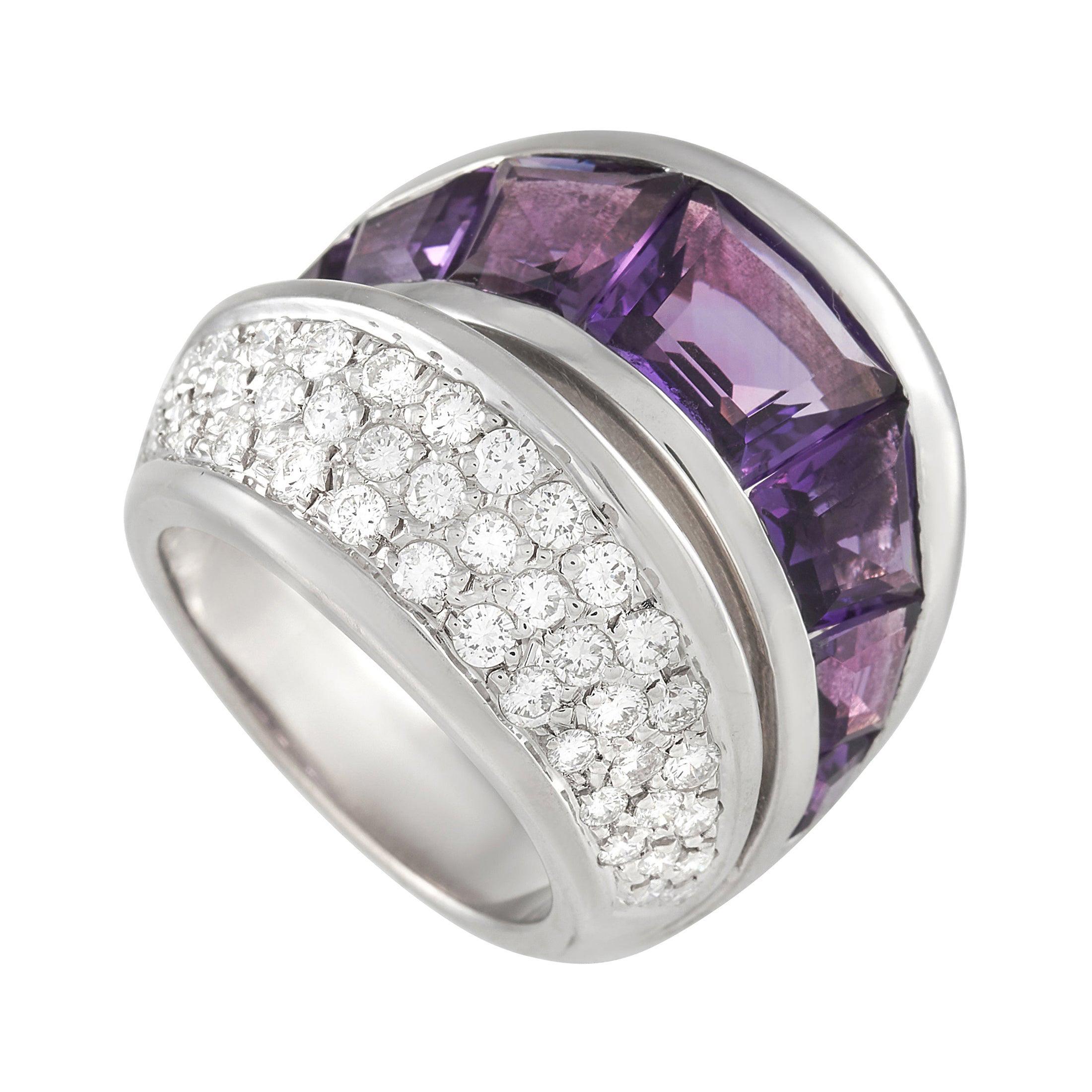 Vasari 18k White Gold 1.25 Ct Diamond and 6.50 Ct Amethyst Ring