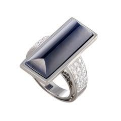 Vasari Lapis and Diamond Pave Large Gold Cocktail Ring