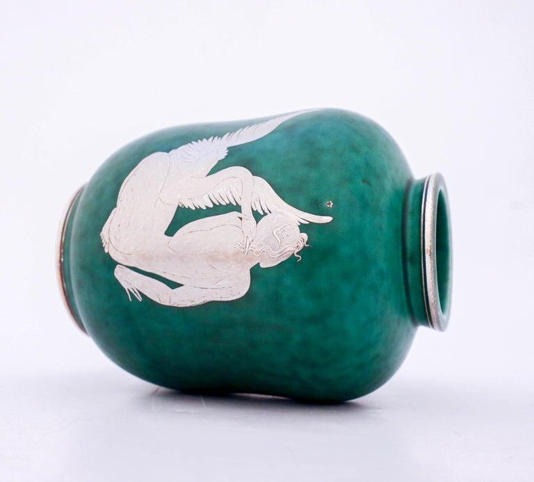 Scandinavian Modern Vase Argenta Wilhelm Kåge Gustavsberg Green, Silver Decor of a Girl with Swan For Sale