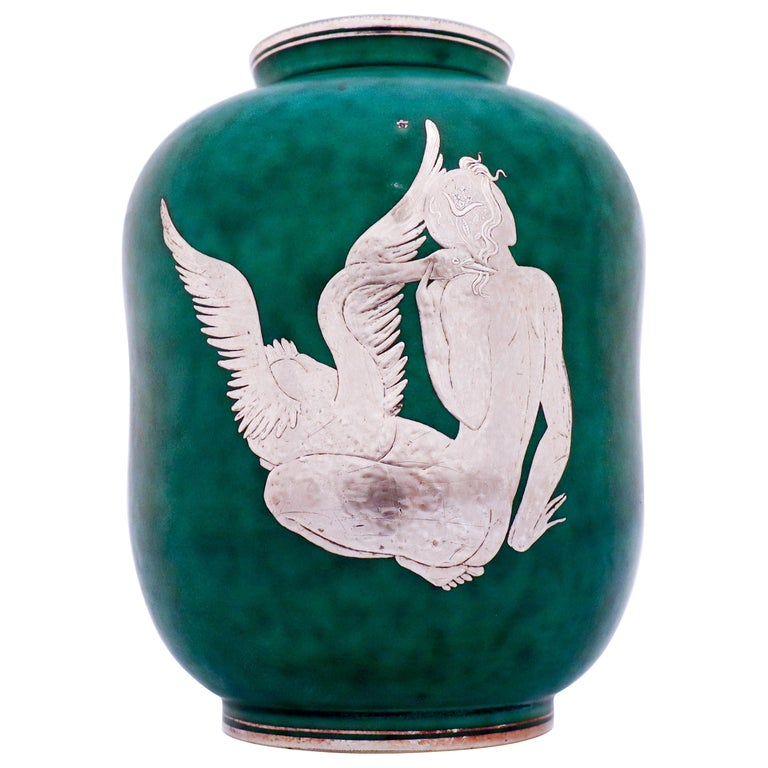 Vase Argenta Wilhelm Kåge Gustavsberg Green, Silver Decor of a Girl with Swan For Sale