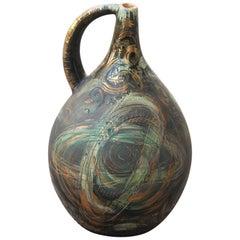 Vase Art Pottery Torido Mazzotti Albisola 1950s Gold Green Orange Futurist