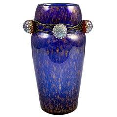 Vase Austrian Jugendstil Loetz Mouth-Blown Glass circa 1910 Berries Blue Shiny