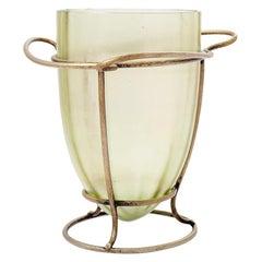 Vase Austrian Jugendstil Loetz Mouth-Blown Glass Metal Mounting, circa 1902