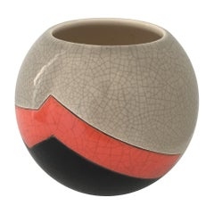 Vase Ball French Ceramist J. Suzor Geometric Pattern, Craqueling Glazelongwy