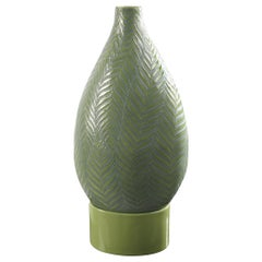 Vase Bottle Fern Small with Base, in Gres Porcelain, Italy