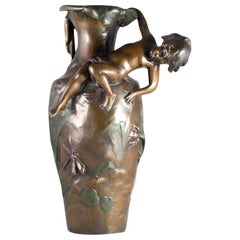 Vase Bronze with Young Man, France, circa 1900, Art Nouveau, Auguste Moreau