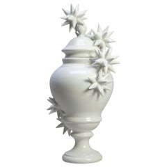 Vase by Andrea Salvatori, White Ceramic Vase 21st Century Contemporary