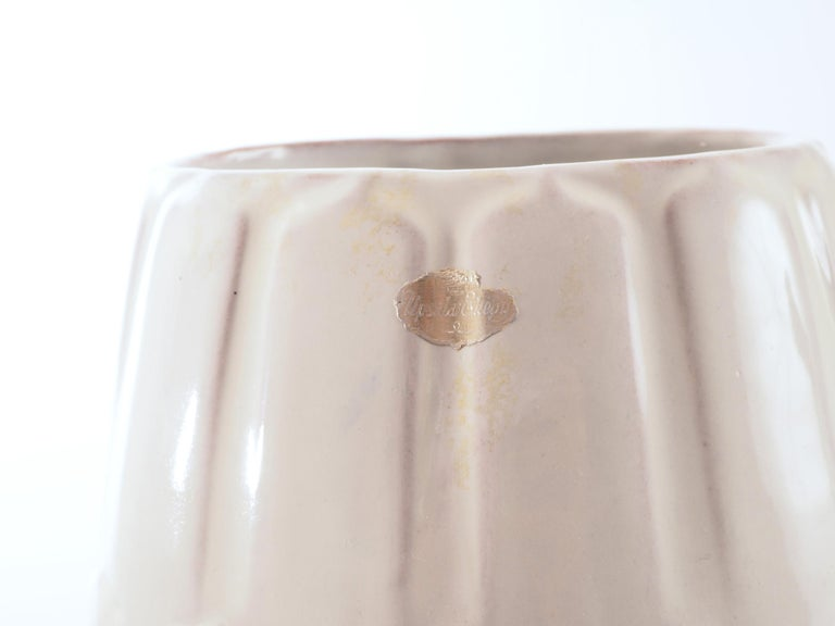 Scandinavian Modern Off white Floor Vase by Anna-Lisa Thomson for Upsala-Ekeby, Sweden. 1940's. For Sale