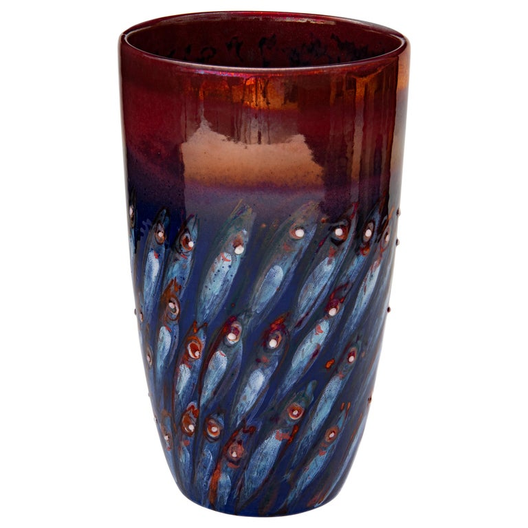 Vase by Bottega Vignoli Hand Painted Glazed Faience Contemporary For Sale