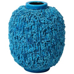 """Vase by Gunnar Nylund, Sweden, circa 1950, Turquoise, """"Charmotte"""""""