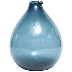 Vase by Timo Sarpaneva, Scandinavian, Blue, Hand Blown Glass, circa 1960