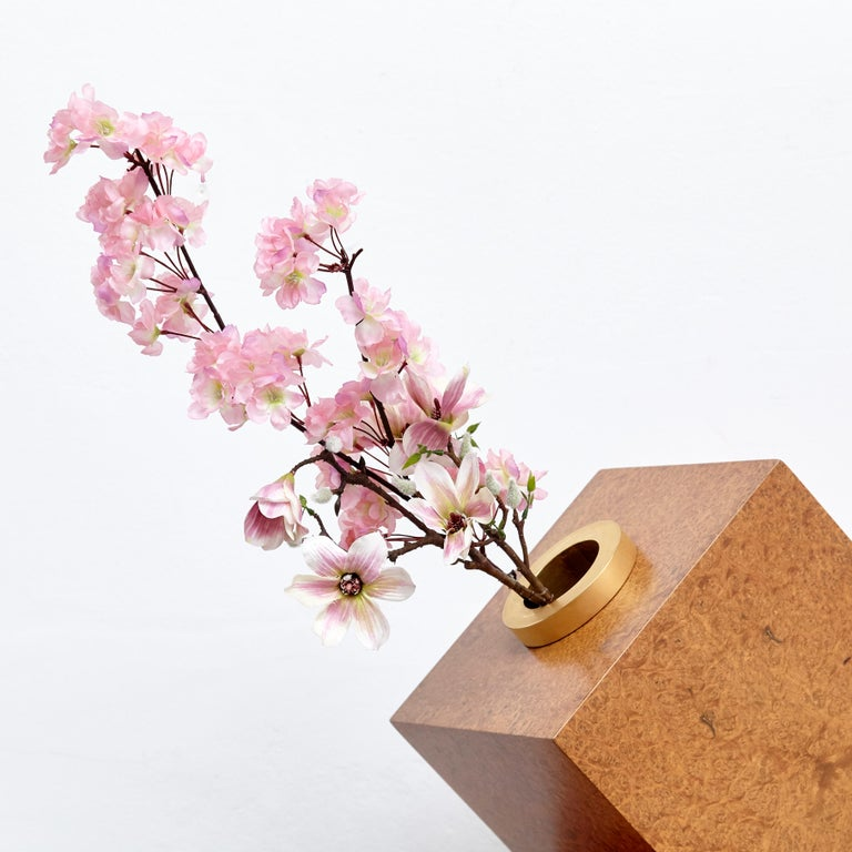 Brass Vase D by Ettore Sottsass 'Twenty-seven Woods for Chinese Artificial Flowers' For Sale