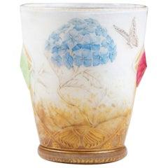 """Vase Daum Nancy """"hortensias"""" / """"Hydrangeas """" à Décor de Papillons"""