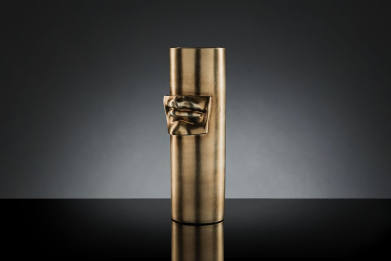 Modern Vase 'David by Michelangelo' Mouth, Brass Metal Finish, in Ceramic, Italy For Sale