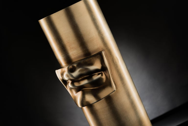 Italian Vase 'David by Michelangelo' Mouth, Brass Metal Finish, in Ceramic, Italy For Sale
