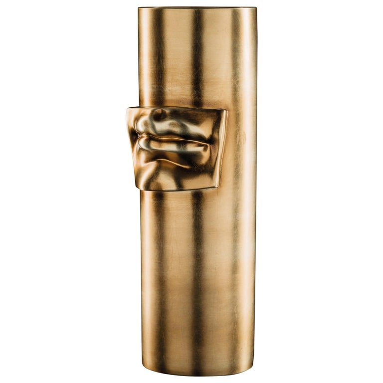 Vase 'David by Michelangelo' Mouth, Brass Metal Finish, in Ceramic, Italy For Sale