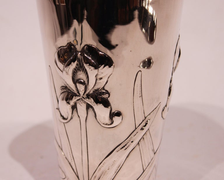 Scandinavian Modern Vase Decorated with Flowers and of Hallmarked Silver For Sale