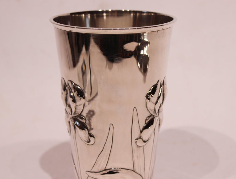Danish Vase Decorated with Flowers and of Hallmarked Silver For Sale