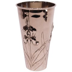 Vase Decorated with Flowers and of Hallmarked Silver