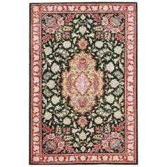 Vase Design Small Green Floral Vintage Persian Silk Qum Rug. 2 ft x 3 ft