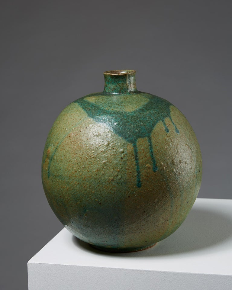 Vase designed by Emi Fujii, Sweden, 1980s. Stoneware.