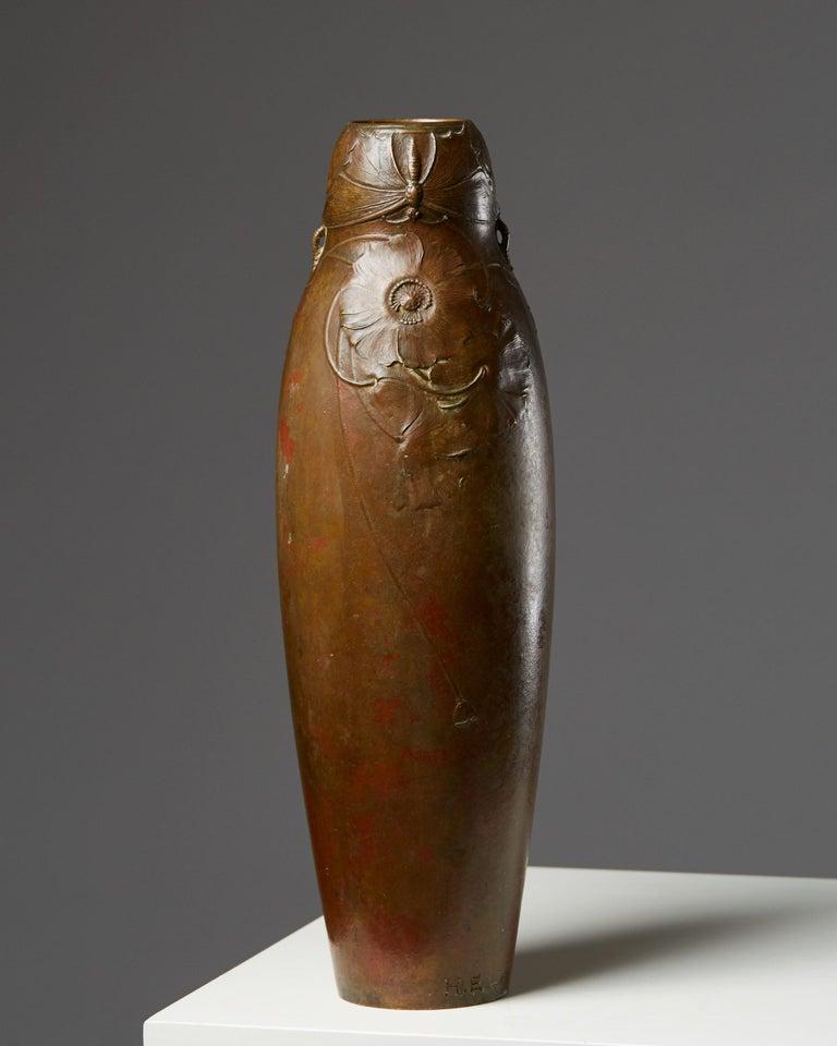 Vase designed by Hugo Elmqvist, Sweden, circa 1900.  Bronze.  Measure: H 39 cm/ 15 1/4