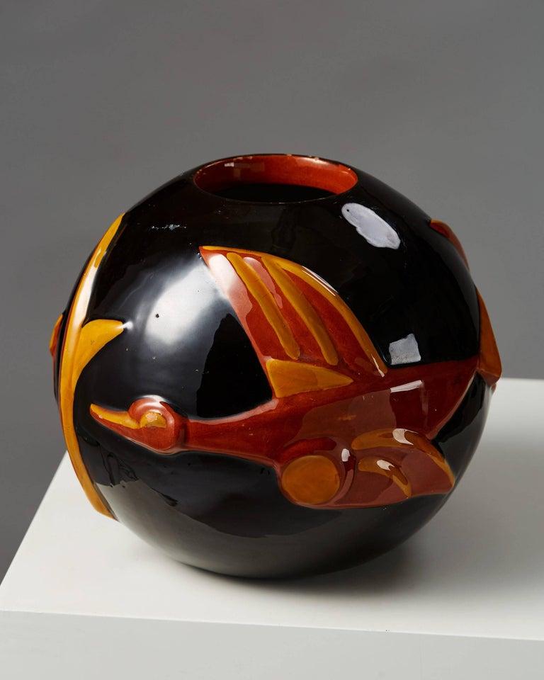 Vase designed by Margareta Wibom for Bo Fajans, Sweden, 1930s.  Stoneware.  Measures: H 20 cm/ 8'' D 24 cm/ 9 1/2''.