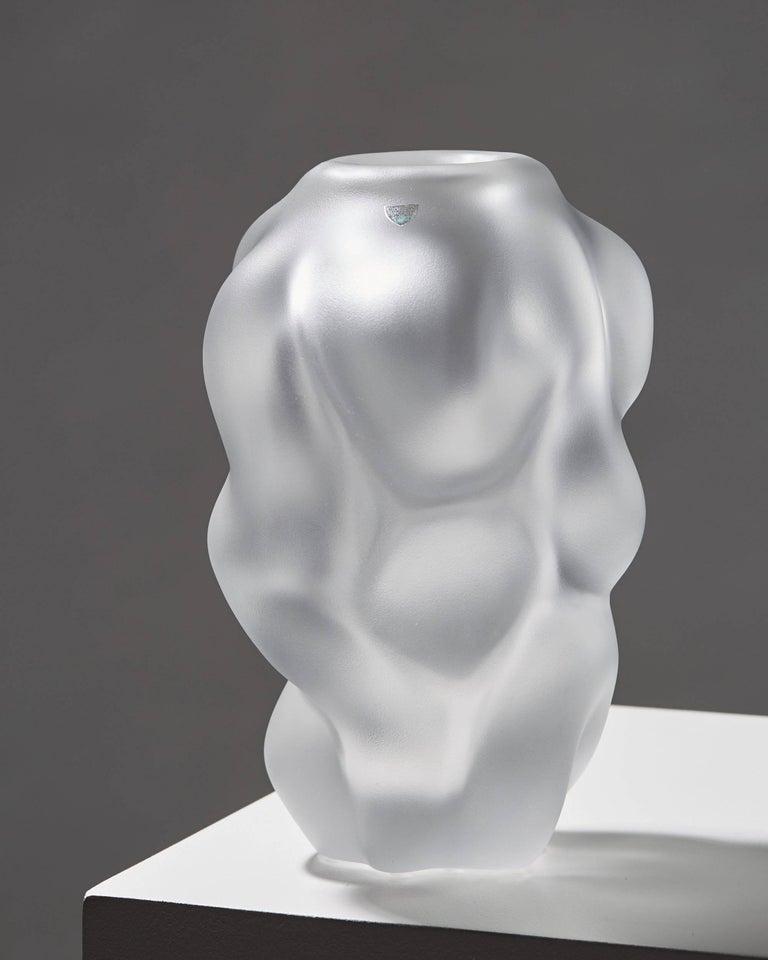 Vase designed by Per B. Sundberg for Orrefors,  Sweden, 1990s.  Glass.  Measures: H 28 cm/ 11
