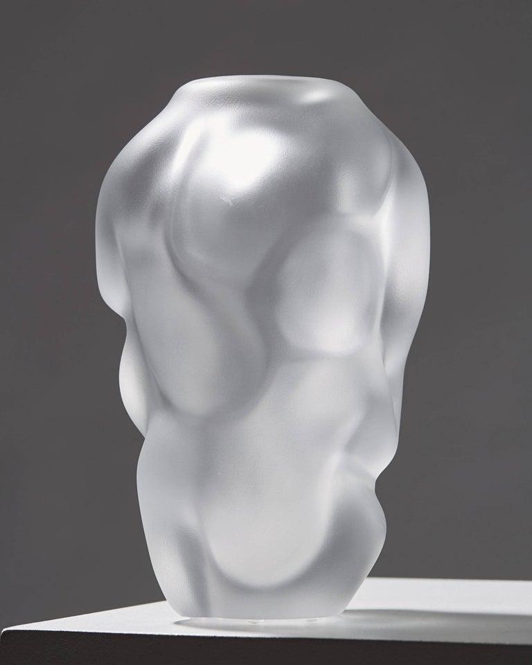 Scandinavian Modern Vase Designed by Per B. Sundberg for Orrefors, Sweden, 1990s For Sale