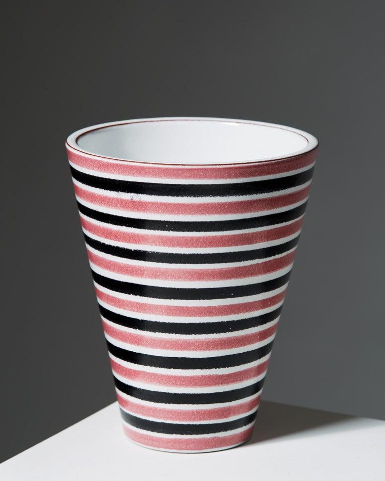 Scandinavian Modern Vase Designed by Stig Lindberg for Gustavsberg, Sweden, 1950s For Sale
