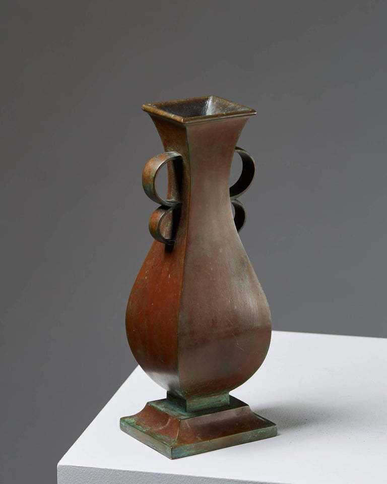 Vase designed by Sune Bäckström, Sweden, 1930s. Bronze.  Measures: H 28 cm/ 7