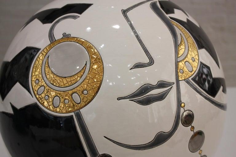Vase Emaux de Longwy, Femme au collier Art Deco For Sale 3