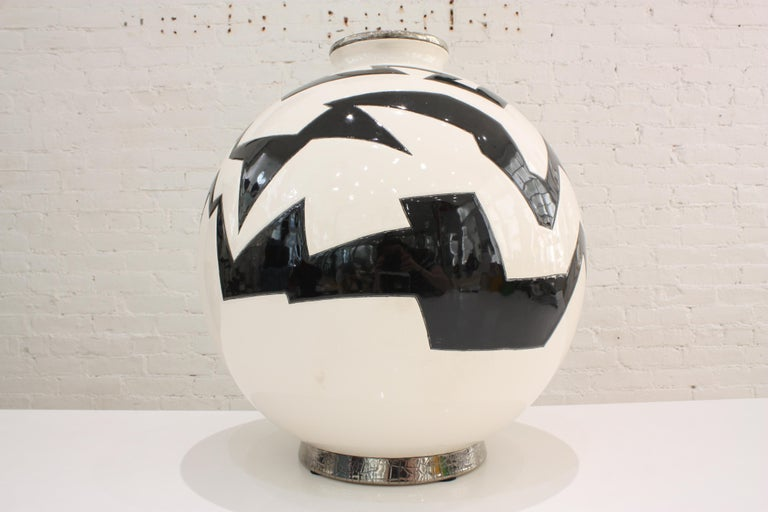 French Vase Emaux de Longwy, Femme au collier Art Deco For Sale