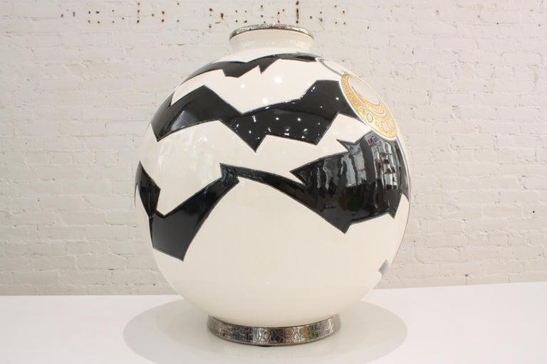 Hand-Crafted Vase Emaux de Longwy, Femme au collier Art Deco For Sale