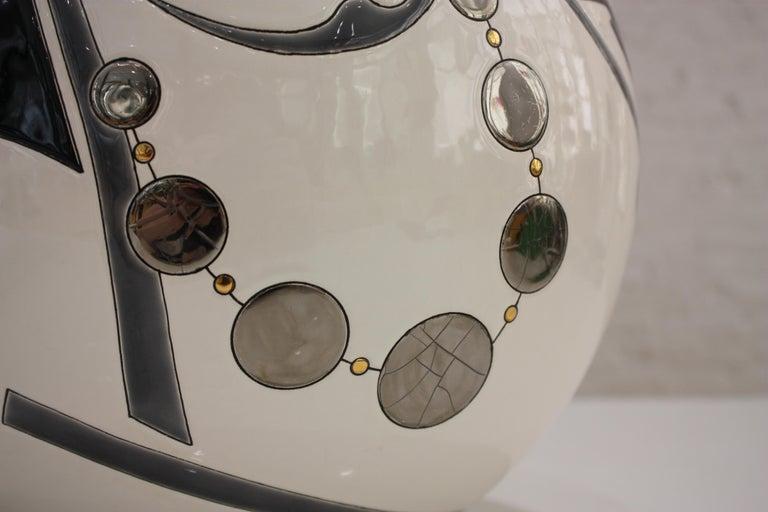 Earthenware Vase Emaux de Longwy, Femme au collier Art Deco For Sale