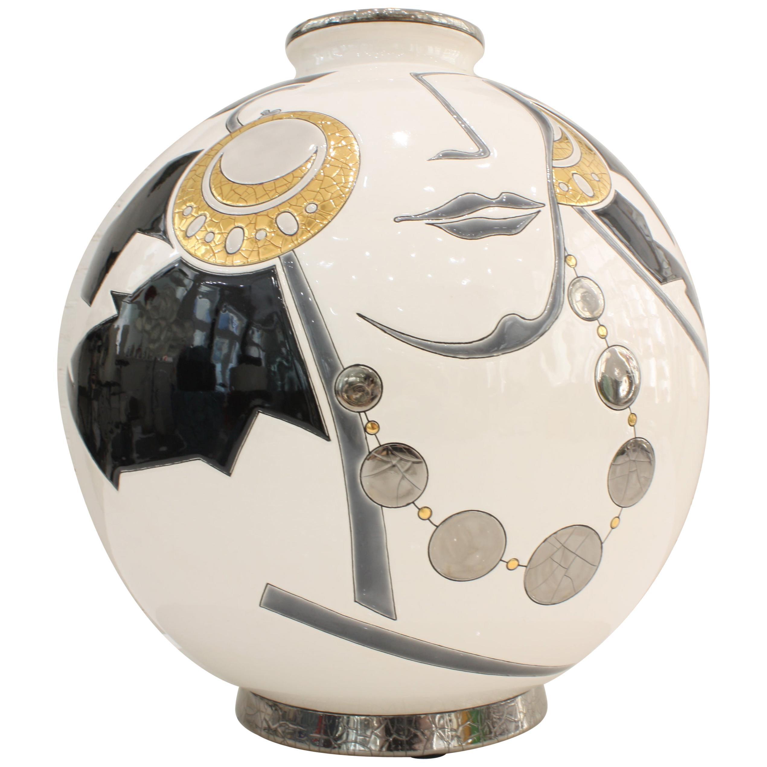Vase Emaux de Longwy, Femme au collier Art Deco