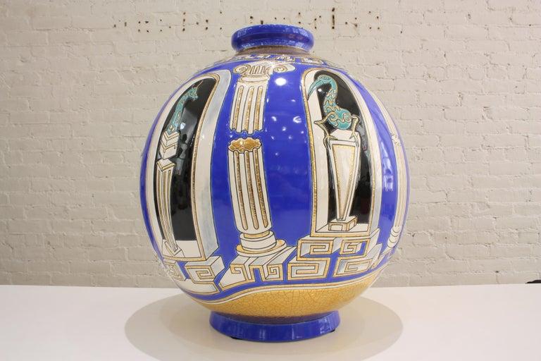 Art Deco  Vase Emaux de Longwy, Métaphore by V. Darré For Sale