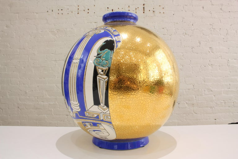 Hand-Crafted  Vase Emaux de Longwy, Métaphore by V. Darré For Sale