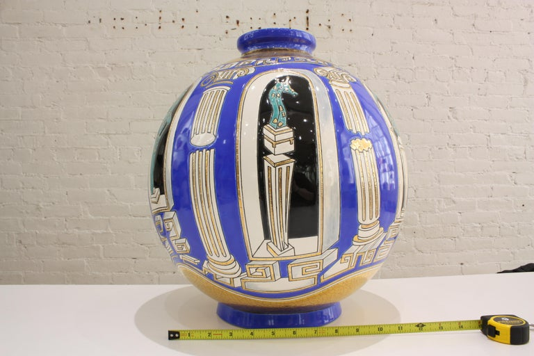 Vase Emaux de Longwy, Métaphore by V. Darré In New Condition For Sale In Mareil-Marly, Yvelines