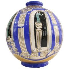 Vase Emaux de Longwy, Métaphore by V. Darré