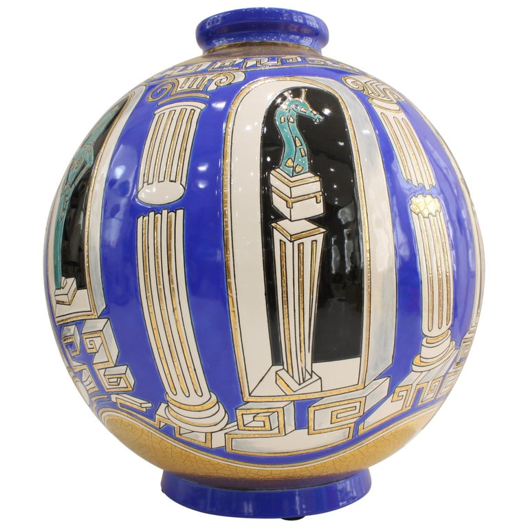 Vase Emaux de Longwy, Métaphore by V. Darré For Sale