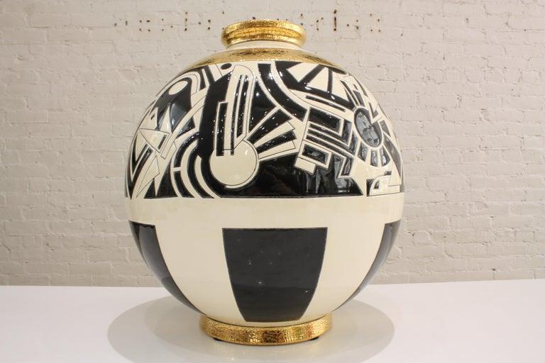Art Deco Vase Emaux de Longwy, Motifs For Sale