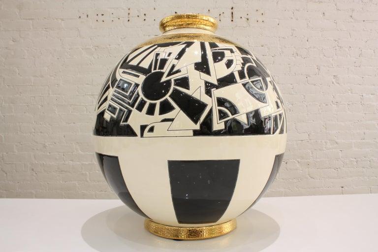 French Vase Emaux de Longwy, Motifs For Sale
